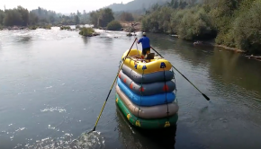 Paddling down rapids on a 6 Raft Stack!
