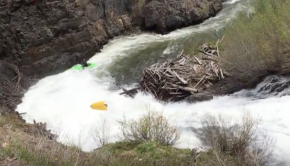 Kayak Explodes half way through a slide!
