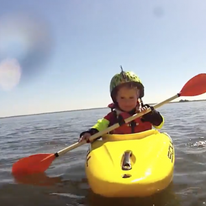 3yr old kid whitewater kayaking