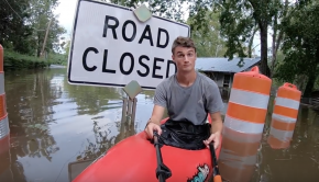 Hurricane Florence Flooding in Fayetteville, NC 17SEP2018 Kayaking Over Roads