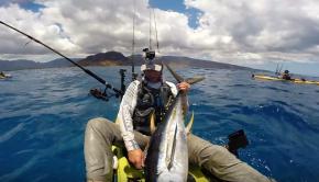 First Big Yellowfin Tuna! | Kayak fishing Hawaii | Flying Fish TV