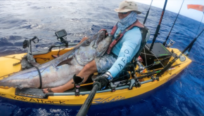 Epic 170 lbs Dogtooth Tuna from a kayak by slow pitch jigging on Guam