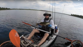 Largemouth bass schooling in the middle of August at Lake Bastrop. Kayak fishing the lake and getting a nice evening bite in the Texas summer heat.