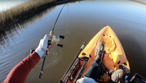 Cold water kayak fishing in the marsh