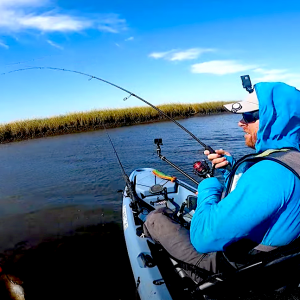 Follow kayak fishing youtuber Robert Field as he battles wind and low water on a good redfish catch and cook session in Louisiana, USA.